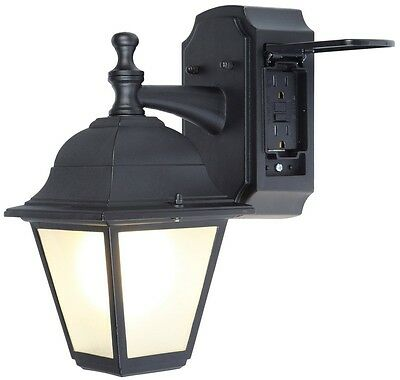 Black Outdoor Light Fixture Porch Patio Exterior Sconce Outlet Wall Lamp New