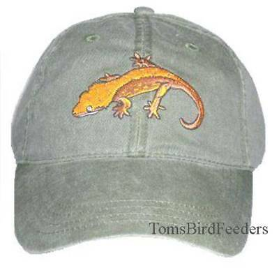 Crested Gecko Embroidered Cotton Cap NEW Reptile Lizard