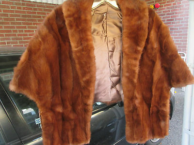 vintage mink stole auburn red brown stole wrap lined