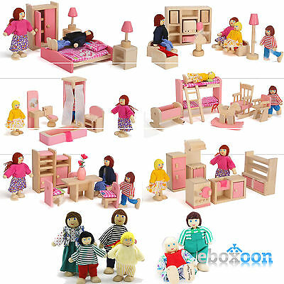 Kids Dolls House Furniture Set Miniature Wooden Family Play Bed Room Kitchen Toy
