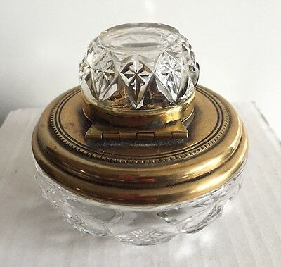 Antique c.1880-1920 French Cut Glass-Bronze Inkwell, Hinged Lid, Very Rare!