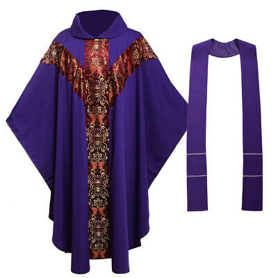 Purple Catholic Church Father Mass Vestments Robe Priest Celebrant Chasuble J035