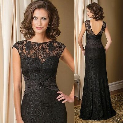 New Black Lace Mother of the Bride Dresses Long Evening Party Formal Prom Gown