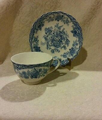 "English Chintz Style, Crown Ducal Blue ""Bristol"" Old Hall Ware Cup & Saucer"