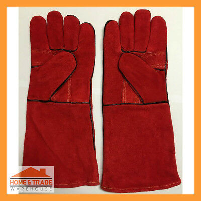 1 Pair Red Lined Welding Gloves Welders Gauntlets Leather Hand Protection Kevlar