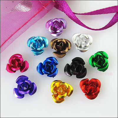 150 New Charms Mixed Aluminum Beautiful Flower Spacer Beads 8mm