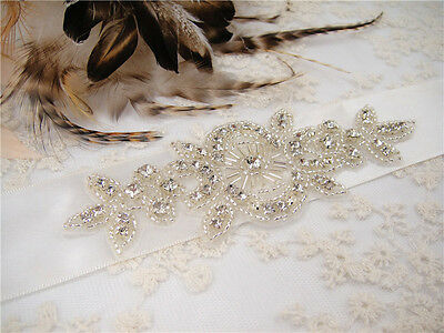 Vintage Rhinestone Crystal Bridal Belt Sash Wedding Accessory Any Colour Ribbon