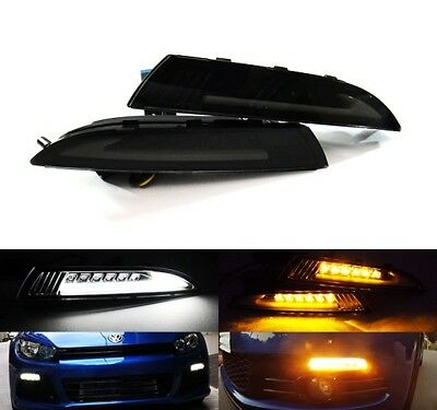 2x VW Daytime Running LED Light White Amber Side Turn Indicator Black Scirocco