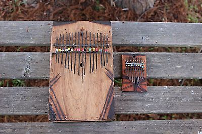 Kenyan Wooden Kalimba Thumb Piano large 15 note African musical instrument
