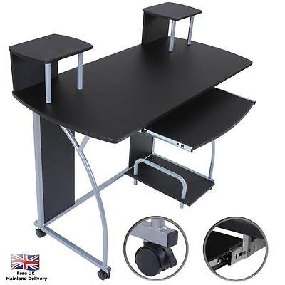 Computer Desk PC Table Home Office Workstation Black Wooden Furniture Work Study