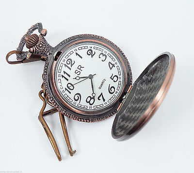 Dorpmarket, Handmade Vintage Pink Yacht designed Pocket Watch with long chain