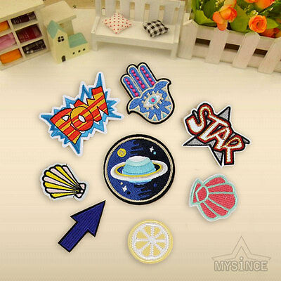 8Pcs Embroidery Outer Space Sew On Iron On Patch Badge Clothes Fabric Applique