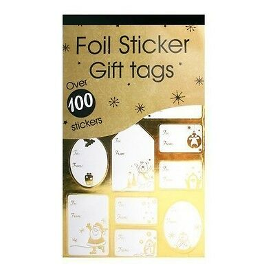 100 Luxrury Silver/Gold Labels CHRISTMAS STICKER Gift Tags Name XMAS PRESENT