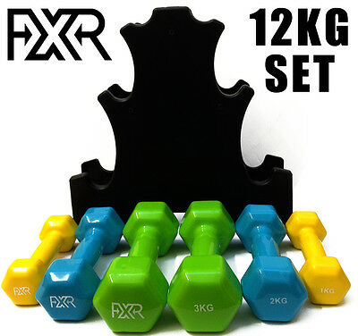 Fxr 12Kg Vinyl Hand Dumbbell Weights Set With Holder Fitness Gym Workout Weight