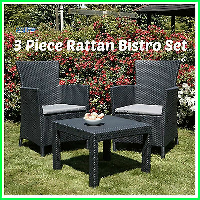 3 Piece Rattan Bistro Set 2 Seater Cushions Table and Chairs Garden Patio Indoor