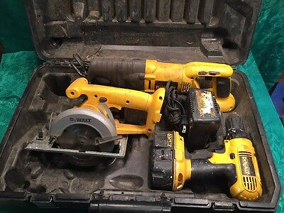 DeWalt 18 Volt Drill Sawzall Trim Saw Charger And Case Combo Kit