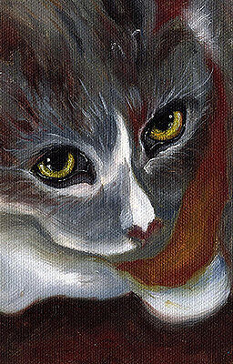 Calico Cat Face Portrait ORIGINAL OIL PAINTING Small 3.5x5.5 Art Artwork by VERN