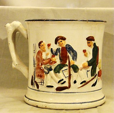 "Early Staffordshire Relief Molded Hidden Frog Large Tavern Mug 19th c 5 1/2"" dia"