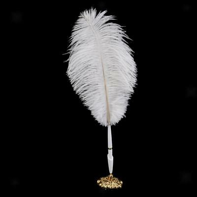 Ostrich Feather Quill Signing Pen with Metal Holder Wedding Pen Sets White