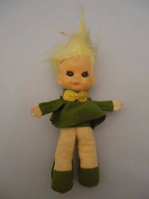Mid Century Green Pixie Elf Wild Blonde Hair Wired Pose able Body Rubber Face