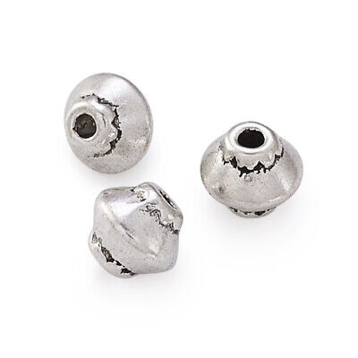 100pcs Tibetan Alloy Bicone Metal Beads Nickel Free Loose Spacers Silver 5x4.5mm