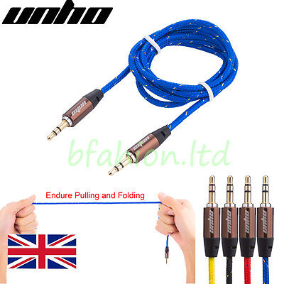 3.5mm Braided Stereo Jack To Jack Aux Audio Cable Lead For iPhone 6 5 4 iPod Car