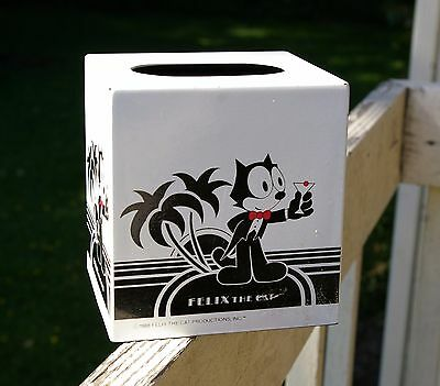 Felix The Cat Productions 1988 Metal Tissue Box Cover Tux Martini
