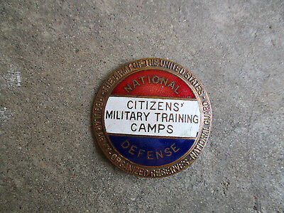 WWI CMTC National Defense Citizens' Military Training Camps pin badge button