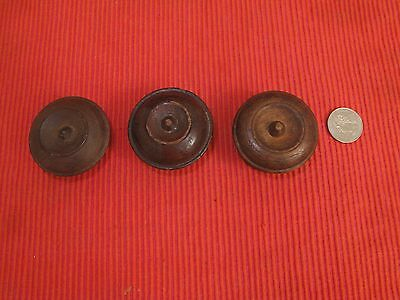 "Set Of 3 Antique Pine Cherry? Empire Drawer Pulls Knobs 2"" D  Q6 Nipple Centers"