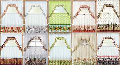 "Kitchen Window Curtain Treatment Tiers And Swag 36"" Long Country Style 3Pc Set"