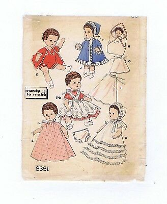 "8351 Vintage Chubby Baby Mini-Doll Pattern - Size 8"" - Year 1959"