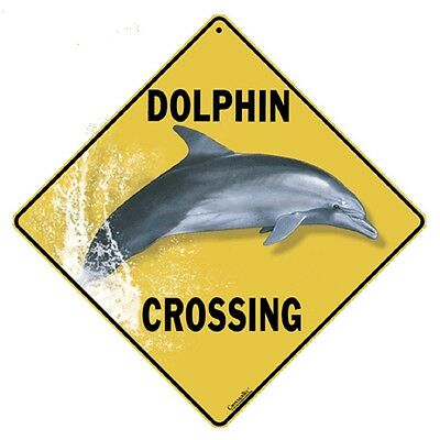 Dolphin Crossing Sign NEW 12x12 Metal Porpoise Free Shipping