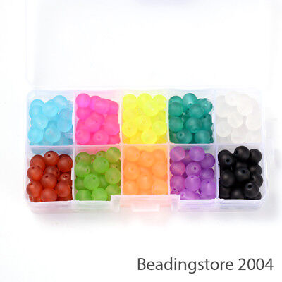 240pcs/Box Transparent Frosted Glass Beads Round Loose Bead Beading Jewelry 8mm