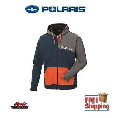 Polaris Men's Color-Blocked Hoodie Zip Fleece Lined Blue Gray Orange Rzr Rmk Ace