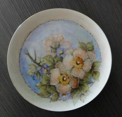 Pink Apple Blossom Green Leaves Apricot Surround Handpainted Plate E. Hutchinson