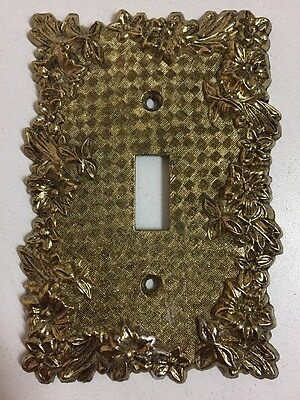 Vintage Brass Single Light Switch Cover Plate Ornate Floral Art Deco Design