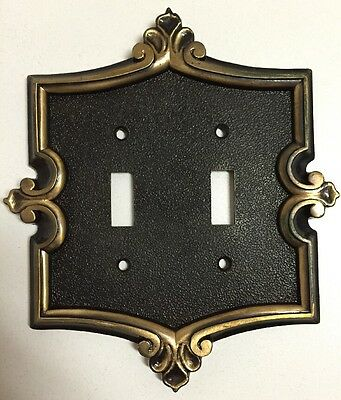 Vintage General Electric Brass Double Light Switch Ornate Cover Plate Toggle