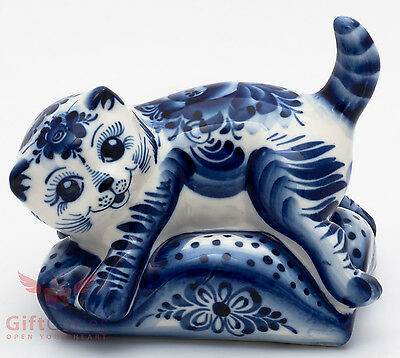 Cat Kitty puss on pillow Collectible Gzhel style Porcelain Figurine hand-painted