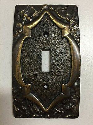 Vintage Amerock Monterey Single Brass Toggle Light Switch Cover Plate