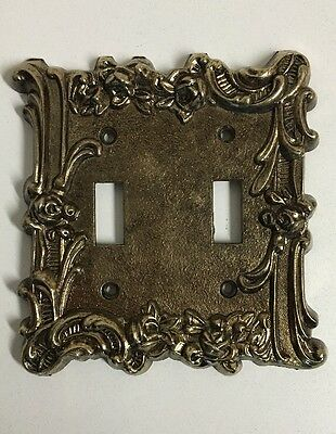 Vintage Gold Brass Light Switch Cover Plate Double Toggle Ornate Floral Design