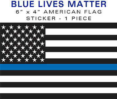 "Support Police BLUE LIVES MATTER 1 piece 4""x6"" bumper sticker decal 6"" USA VINYL"