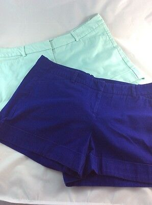 Lot of 2 Mossimo Cuffed Stretch Shorts Size 12 - purple & mint green
