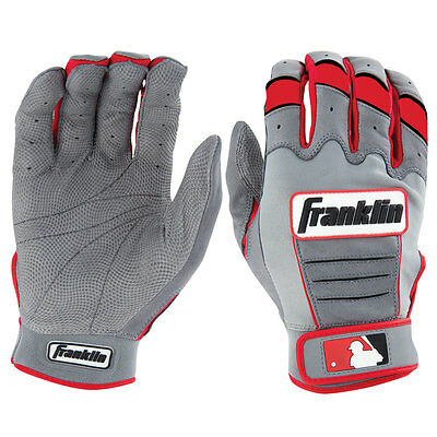 Franklin CFX Pro Adult Baseball/Softball Batting Gloves - Grey/Red - Small