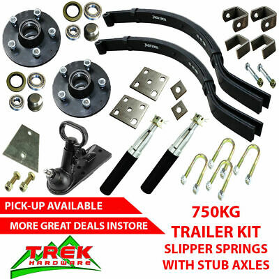 750KG Rated Single Stub Axle Kit, Slipper Springs Trailer DIY Kit Box