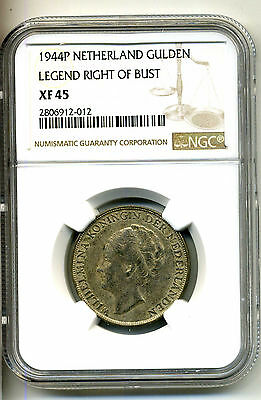Netherlands Gulden 1944-P,.720 Silver,NGC XF 45
