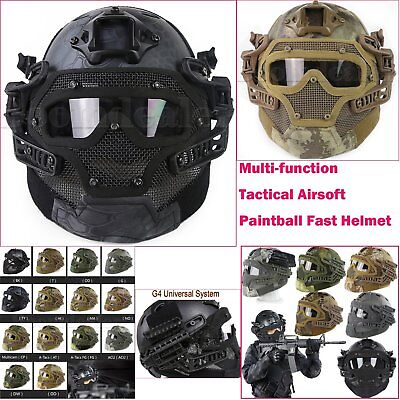 Airsoft Fast Helmet Paintball Mask Multi-function Goggles & G4 System Protection