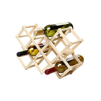 10 Bottle FOLDABLE WINE RACK Wooden Storage Stand Organiser Collapsible New
