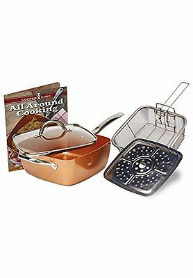 """Copper Chef 5 piece Non-Stick 9.5"""" Large Deep Sided Square Pan Kit – As seen on"""
