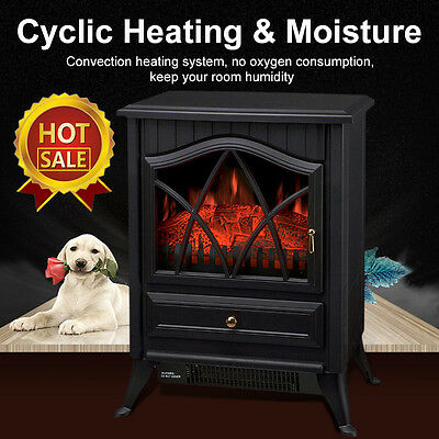 1850W Log Burning Flame Effect Electric Fire Heater Fireplace Stove Fan New