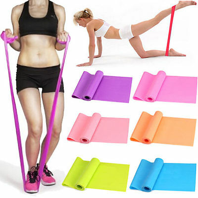 1.2m Elastic Yoga Pilates Rubber Stretch Exercise Band Arm Back Leg Fitness AU